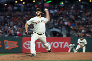 San Francisco Giants starting pitcher Madison Bumgarner (40) pitches against the Pittsburgh Pirates at AT&T Park in San Francisco, California, on July 25, 2017. (Stan Olszewski/Special to S.F. Examiner)