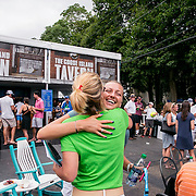 August 21, 2016, New Haven, Connecticut: <br /> Petra Kvitova of the Czech Republic hugs Tournament Director Anne Worcester during WTA All-Access Hour on Day 3 of the 2016 Connecticut Open at the Yale University Tennis Center on Sunday, August  21, 2016 in New Haven, Connecticut. <br /> (Photo by Billie Weiss/Connecticut Open)
