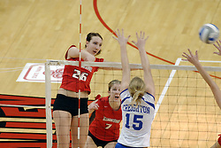 24 November 2006: Kari Staehlin strikes the ball towards the Bluejays during a Quarterfinal match between the Illinois State University Redbirds and the Creighton University Bluejays. The Tournament was held at Redbird Arena on the campus of Illinois State University in Normal Illinois.<br />