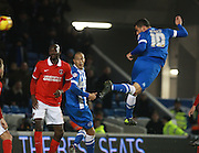 Brighton striker Tomer Hemed heads the winning goal during the Sky Bet Championship match between Brighton and Hove Albion and Charlton Athletic at the American Express Community Stadium, Brighton and Hove, England on 5 December 2015. Photo by Bennett Dean.
