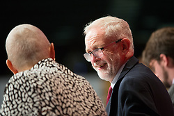 @Licensed to London News Pictures 21/09/2019. Brighton. Le of the Labour Party takes his place on the stage for the opening day of the Labour Party Conference in Brighton. The conference will continue over the next 5 days. Photo credit: Manu Palomeque/LNP