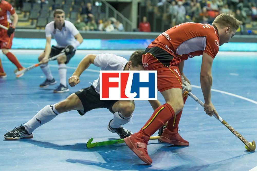 Hockey, Seizoen 2017-2018, 08-02-2018, Berlijn,  Max-Schmelling Halle, WK Zaalhockey 2018 MEN, Belgium - Russia 4-5, MARAITE Pierre Louis (BEL). Worldsportpics copyright Willem Vernes