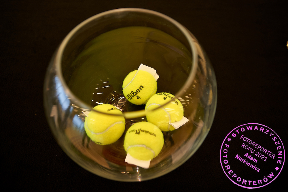 Official Wilson balls in the cup during official draw one day before the Fed Cup / World Group 1st round tennis match between Poland and Russia at Holiday Inn on February 6, 2015 in Cracow, Poland.<br /> <br /> Poland, Cracow, February 6, 2015<br /> <br /> Picture also available in RAW (NEF) or TIFF format on special request.<br /> <br /> For editorial use only. Any commercial or promotional use requires permission.<br /> <br /> Adam Nurkiewicz declares that he has no rights to the image of people at the photographs of his authorship.<br /> <br /> Mandatory credit:<br /> Photo by &copy; Adam Nurkiewicz / Mediasport