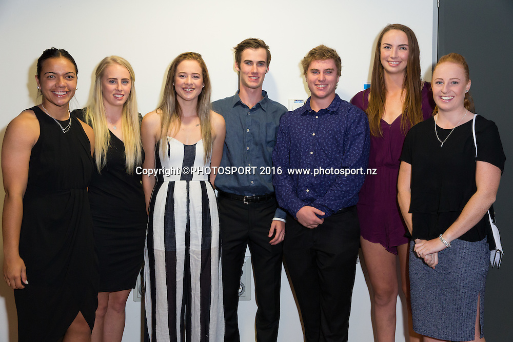 Stacey Waaka, Emily Patterson, Monica Faulkner, Matthew Connolly, Josef Winders, Kelly Jury, Samantha Sinclair at the High Performance Sport NZ Waikato ceremony for the Prime Minister's Scholarship Awards, at Sir Don Rowlands Centre, Lake Karapiro, Cambridge, New Zealand, 20 April 2016. Copyright Photo: Stephen Barker / www.photosport.nz
