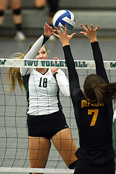 28 October 2016:  Anna Clausen during an NCAA womens division 3 Volleyball match between the DePauw Tigers and the Illinois Wesleyan Titans in Shirk Center, Bloomington IL