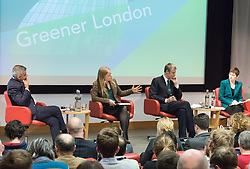 Royal Society of Medicine, London, March 4th 2016.  Left to right: Labour Party mayoral candidate Sadiq Khan, Green Party mayoral candidate Sian Berry, Conservative Party mayoral candidate Zac Goldsmith and Liberal Democrat mayoral candidate Caroline Pidgeon at the Greener London Mayoral hustings held at the Royal Society of Medicine in London. ///FOR LICENCING CONTACT: paul@pauldaveycreative.co.uk TEL:+44 (0) 7966 016 296 or +44 (0) 20 8969 6875. ©2015 Paul R Davey. All rights reserved.