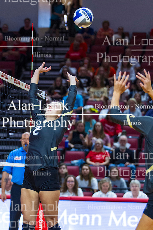 BLOOMINGTON, IL - September 14: Erin Olson during a college Women's volleyball match between the ISU Redbirds and the University of Central Florida (UCF) Knights on September 14 2019 at Illinois State University in Normal, IL. (Photo by Alan Look)