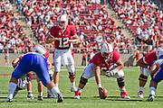 Stanford University Cardinals' Andrew Luck (12) scans San Jose State's defense in Palo Alto, Calif., Sept. 3, 2011.  Stanford (7) beat San Jose State, 57-3.  (Spartan Daily/Stan Olszewski)
