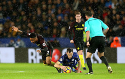 Raheem Sterling of Manchester City is fouled by Andy King of Leicester City - Mandatory by-line: Robbie Stephenson/JMP - 10/12/2016 - FOOTBALL - King Power Stadium - Leicester, England - Leicester City v Manchester City - Premier League