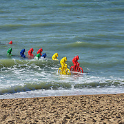 Riders coming ashore from across the English channel