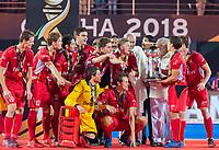 BHUBANESWAR, INDIA - De Belgen met de cup,  na  de  finale tussen België en Nederland (0-0)  bij het WK Hockey heren in het Kalinga Stadion. Belgie wint de shoot outs .    COPYRIGHT KOEN SUYK