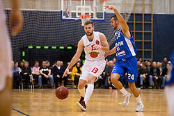 Alen Mevla of KK Mesarija Prunk Sezana and Sinisa Milicevic of KK Plama-Pur during basketball match between KK Mesarija Prunk Sezana and KK Plama - Pur in 2nd Slovenian Basketball League, on January 20, 2018 in Sports hall OS Sezanal,Sezana, Slovenia. Photo by Urban Urbanc / Sportida