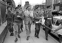 Denis Healey, UK Minister for Defence, in Belfast, N Ireland, walk-about  during a visit to peace-keeping troops serving in the Province, 18th September 1969, 196909180253e. <br /> <br /> Copyright Image from Victor Patterson, 54 Dorchester Park, Belfast, UK, BT9 6RJ<br /> <br /> t1: +44 28 9066 1296<br /> t2: +44 28 9002 2446<br /> m: +44 7802 353836<br /> <br /> e1: victorpatterson@me.com<br /> e2: victorpatterson@gmail.com<br /> <br /> IMPORTANT: My Terms and Conditions of Business are at www.victorpatterson.com