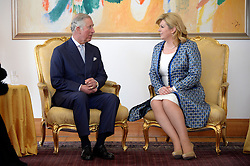 14.03.2016, Zagreb, CRO, der Britische Kronprinz Charles und seine Frau Camilla besuchen Kroatien, im Bild British Crown Prince Charles and his wife Camilla, the Duchess of Cornwall, are visiting Croatia as part of a regional tour that will include Serbia, Montenegro and Kosovo. They are officially welcomed by President Kolinda Grabar-Kitarovic at Presidential Palace. EXPA Pictures © 2016, PhotoCredit: EXPA/ Pixsell/ Goran Mehkek/Cropix/POOL<br /> <br /> *****ATTENTION - for AUT, SLO, SUI, SWE, ITA, FRA only*****