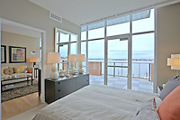 Architectural interiors of the apartment leasing center at National Harbor overlooking the Potomac River