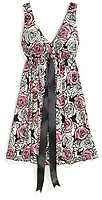 black, white and pink roses sundress