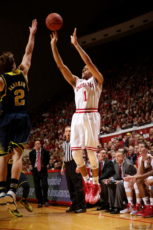 Indiana guard James Blackmon Jr. (1) as Michigan played Indiana in an NCCA college basketball game in Bloomington, Ind., Sunday, Feb. 8, 2015. (AJ Mast / Photo))