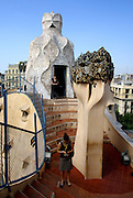 Spain, Barcelona, Casa Milà (La Pedrera) by the architect Antoni Gaudi