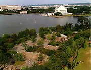 Aerial view of the FDR Memorial in Washington DC and Jefferson Memorial, Tidal Basin