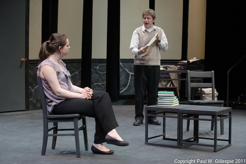 Washington College Drama Department dress rehearsal of Conversations with God, a senior playwriting thesis by Maggie Farrell. Directed by Maggie Matthews in Tawes Theatre. (Photo by Paul W. Gillespie) 3/3/11.