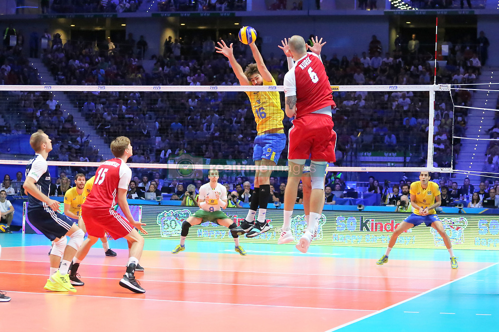 September 30, 2018 - Turin, Piedmont, Italy - Bartosz Kurek of Poland against Lucas Saatkamp of Brazil during the final match between Brazil and Poland for the FIVB Men's World Championship 2018 at Pala Alpitour in Turin, Italy, on 30 September 2018. Poland won 3: 0 and it is confirmed world champion. (Credit Image: © Massimiliano Ferraro/NurPhoto/ZUMA Press)