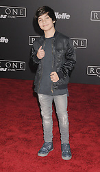December 10, 2016 - Los Angeles, California, United States - December 10th 2016 - Los Angeles California USA - Actor BRYCE GHEISAR  at the World Premiere for ''Rogue One Star Wars'' held at the Pantages Theater, Hollywood, Los Angeles  CA (Credit Image: © Paul Fenton via ZUMA Wire)
