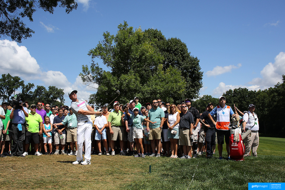 Rory McIlroy chips out of the rough on the 3rd hole during the fourth round of theThe Barclays Golf Tournament at The Ridgewood Country Club, Paramus, New Jersey, USA. 24th August 2014. Photo Tim Clayton