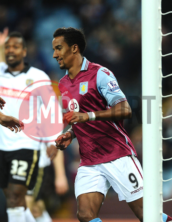 Scott Sinclair of Aston Villa celebrates  - Mandatory byline: Joe Meredith/JMP - 07966386802 - 25/08/2015 - FOOTBALL - Villa Park -Birmingham,England - Aston Villa v Notts County - Capital One Cup - Second Round