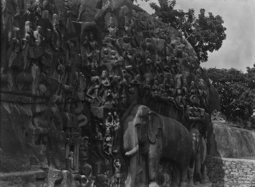 Arjuna's Penance, Seven Pagodas, Mahabalipuram, India, 1929