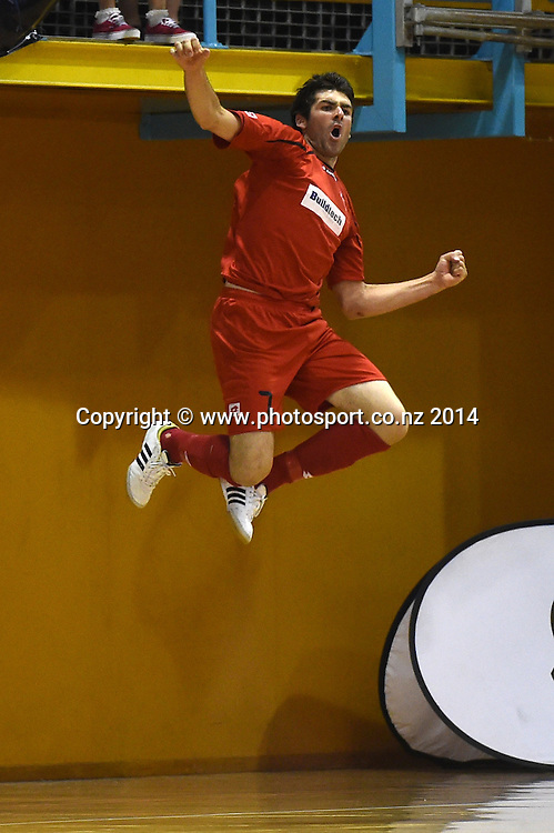 Ryan Batty celebrates a goal for Mainland. Mainland players celebrate winning the final. Mainland v Capital. Final of the 2014 National Futsal League, Series 3. ASB Stadium, Auckland, New Zealand. Sunday 7 December 2014. Photo: Andrew Cornaga/photosport.co.nz