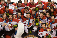 Team Canada celebrates after winning the Gold Medal in men's hockey at the 2010 Olympic Winter Games in Vancouver, BC.