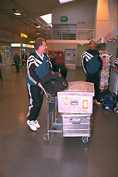 LIVERPOOL, ENGLAND - Monday, September 11, 1995: Liverpool's assistant manager Doug Livermore and Stan Collymore at Liverpool Airport before travelling to Russia ahead of the UEFA Cup 1st Round 1st Leg match against FC Alania Spartak Vladikavkaz. (Photo by David Rawcliffe/Propaganda)