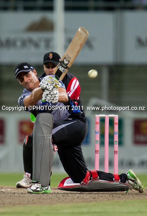 Bryan Young bats during the Titans International Twenty20 Cricket, Samsung NZCPA Masters XI v Australia, Seddon Park, Hamilton, New Zealand, Thursday 24 February 2011. Photo: Stephen Barker/PHOTOSPORT