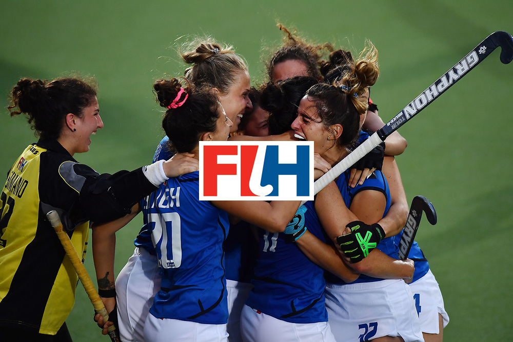 BRUSSELS, BELGIUM - JUNE 24: Italy celebrate at the final whistle after holding on for a narrow 2-1 victory during the FINTRO Women's Hockey World League Semi-Final Pool A game between Italy and Scotland on June 24, 2017 in Brussels, Belgium. (Photo by Charles McQuillan/Getty Images for FIH)