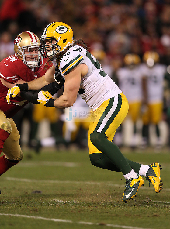 Green Bay Packers outside linebacker Clay Matthews (52) in action during a NFL Divisional playoff game against the San Francisco 49ers at Candlestick Park in San Francisco, Calif., on Jan. 12, 2013. The 49ers defeated the Packers 45-31. (AP Photo/Jed Jacobsohn)