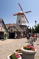 Solvang Danish Windmill Tourism Street Scene, San Luis Obispo County, California