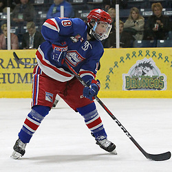 COCHRANE, ON - MAY 2: Christian Girhiny #18 of the Oakville Blades passes the puck on May 2, 2019 at Tim Horton Events Centre in Cochrane, Ontario, Canada.<br /> (Photo by Tim Bates / OJHL Images)