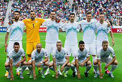 Players of Slovenia, 1st line: Andraz Kirm, Miso Brecko, Kevin Kampl, Bojan Jokic and Ales Mertelj; 2nd line: Bostjan Cesar of Slovenia, Samir Handanovic of Slovenia, Milivoje Novakovic of Slovenia, Branko Ilic of Slovenia, Josip Ilicic and Jasmin Kurtic of Slovenia during the EURO 2016 Qualifier Group E match between Slovenia and England at SRC Stozice on June 14, 2015 in Ljubljana, Slovenia. Photo by Vid Ponikvar / Sportida