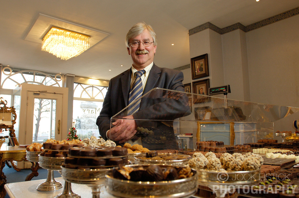 BRUSSELS, BELGIUM - JAN-13-2006 -  Michel Boey of Mary Chocolates in Brussels runs the small elegant shop with his wife Sarah. Michel tends to the task of making the chocolate while his wife runs the shop. (PHOTO © JOCK FISTICK)