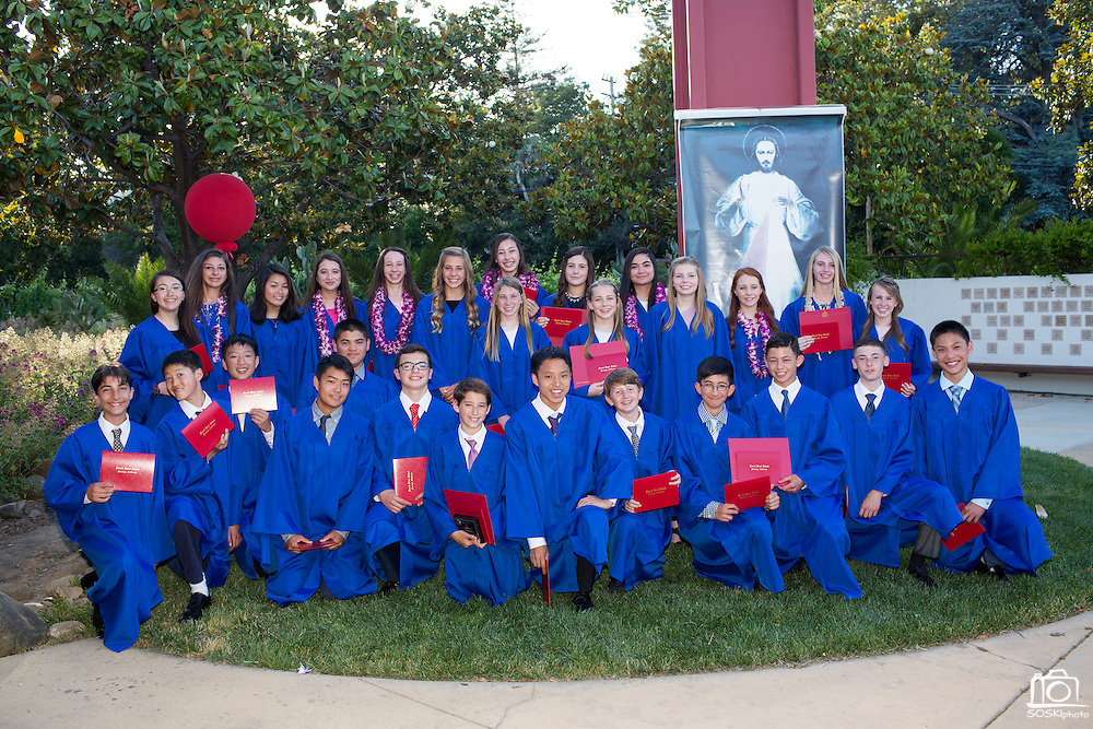 Sacred Heart Middle School celebrates its Class of 2016 graduation at Sacred Heart Middle School in Saratoga, California, on June 3, 2016. (Stan Olszewski/SOSKIphoto)