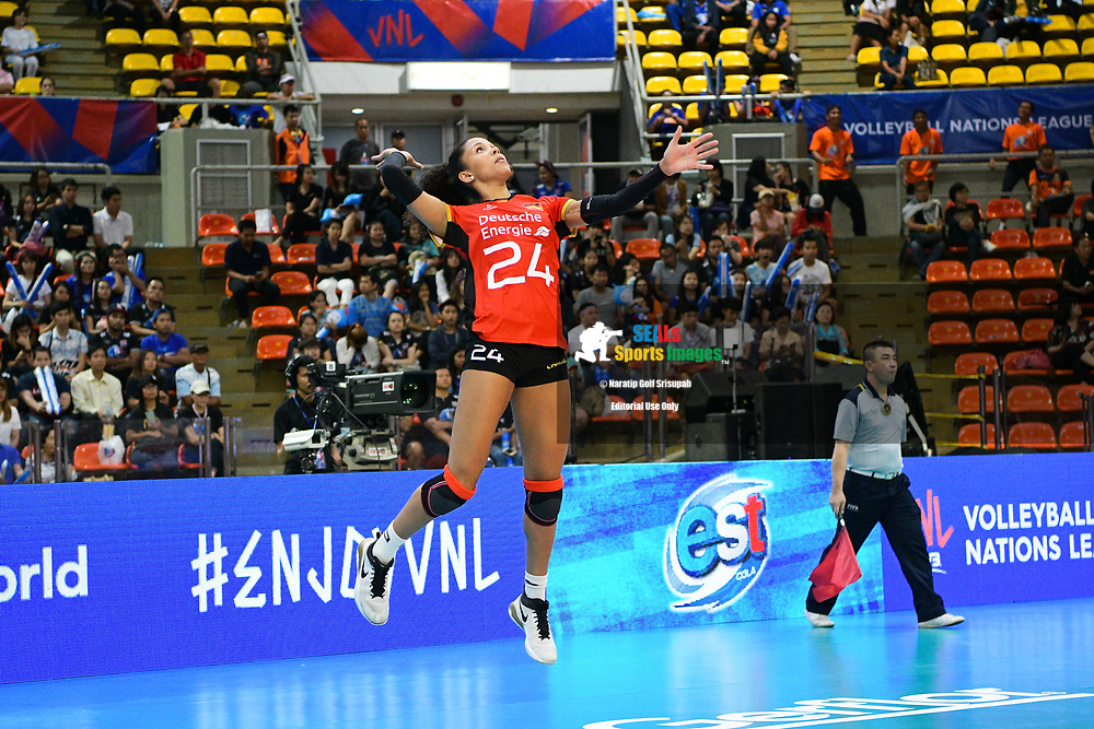 BANGKOK, THAILAND - MAY 31: Denise Imoudu #24 of Germany in action on Day 3 match between Dominican Republic vs Germany at the FIVB Volleyball Nation League 2018, Indoor Stadium Huamark, Bangkok, Thailand on May 31, 2018. <br /> .<br /> .<br /> .<br /> (Photo by: Naratip Golf Srisupab/SEALs Sports Images)<br /> .<br /> Any image use must include a mandatory credit line adjacent to the content which should read: Naratip Golf Srisupab/SEALs Sports Images