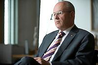 08 SEP 2008, BERLIN/GERMANY:<br /> Volker Kauder, CDU, CDU/CSU Fraktionsvorsitzender, waehrend einem Interview, in seinem Buero, Deutscher Bundestag<br /> IMAGE: 20080908-01-006