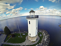 Lighthouse in Fond du Lac Wisconsin, aerial drone photo.