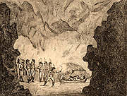 Peak Cavern, Castleton, Derbyshire, England, also called the Peak Hole or the Devil's Arse, a cave in the Peak District limestone with the largest cave entrance in Britain. 'Manner of crossing the first River in the Peak Hole'  18th century gentleman tourists being shown the wonders of the cave by guides with candles. Etching by Isaac Cruikshank (c1764-1811) after the drawing by the English caricaturist George Montard Woodward (c1760-1809) published 1797.