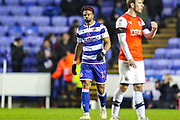 Goal Reading forward Garath McCleary (12) scores a goal and celebrates 3-0 during the EFL Sky Bet Championship match between Reading and Luton Town at the Madejski Stadium, Reading, England on 9 November 2019.