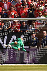 July 28, 2018 - Ann Arbor, MI, U.S. - ANN ARBOR, MI - JULY 28: Manchester United Keeper Lee Grant (13) jumps up and tips the ball over the net in the first half of the ICC soccer match between Manchester United FC and Liverpool FC on July 28, 2018 at Michigan Stadium in Ann Arbor, MI (Photo by Allan Dranberg/Icon Sportswire) (Credit Image: © Allan Dranberg/Icon SMI via ZUMA Press)