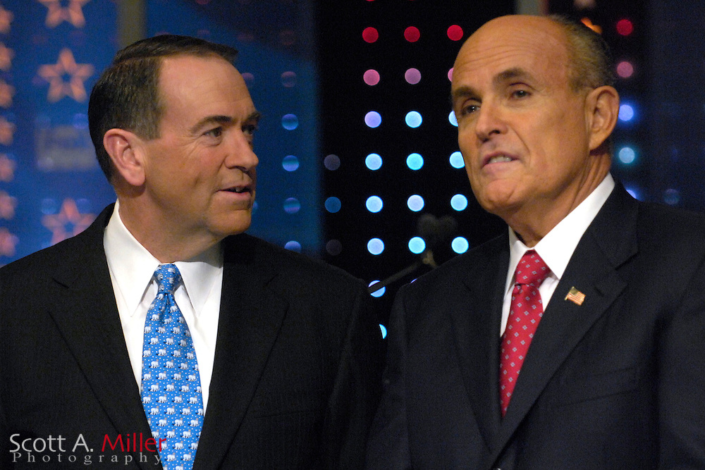 Orlando, Fla., USA; Oct. 21, 2007 - Republican presidential hopefuls Mike Huckabee, left and Rudy Giuliani, prior to the Florida Republican debate hosted by FOX News in Orlando, Fla. ..©2007 Scott A. Miller