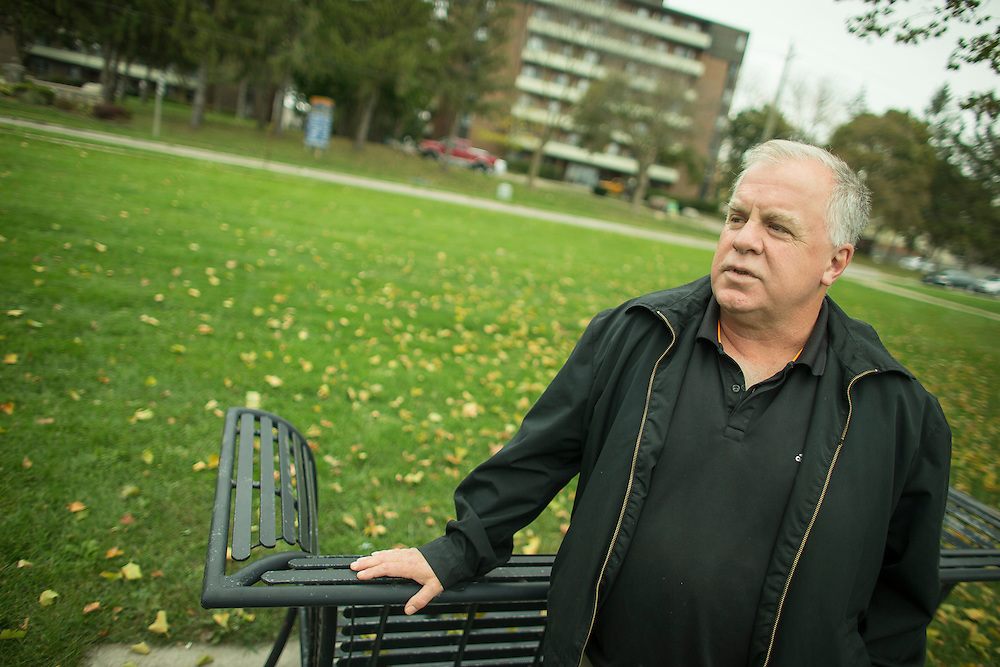 Woodstock, Ontario ---2016-10-26--- Wade Messenger stands in the park across from his apartment building in Woodstock, Ontario, on October 26, 2016  where he was neighbours with Elizabeth Wettlaufer, the accused in the murder of 8 elderly  residents at nursing homes where she worked.<br /> GEOFF ROBINS The Globe and Mail