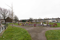 © Licensed to London News Pictures. 01/02/2019. London, UK.  The park area in Saxton Road in Newham where the police were called last night to reports of an abandoned baby. Photo credit: Vickie Flores/LNP