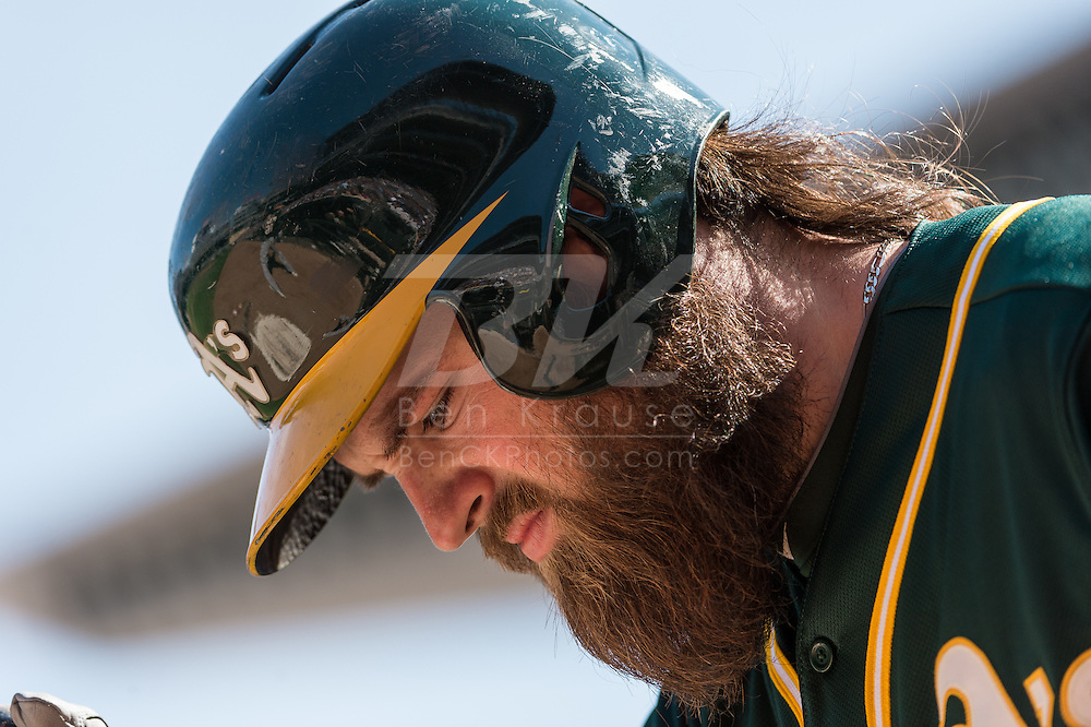 Derek Norris #36 of the Oakland Athletics waits on-deck during a game against the Minnesota Twins on April 9, 2014 at Target Field in Minneapolis, Minnesota.  The Athletics defeated the Twins 7 to 4.  Photo by Ben Krause